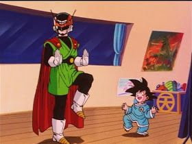 Gohan poses in his Great Saiyaman costume, much to Goten's delight (funny post on DBZ episode Gohan's first date)