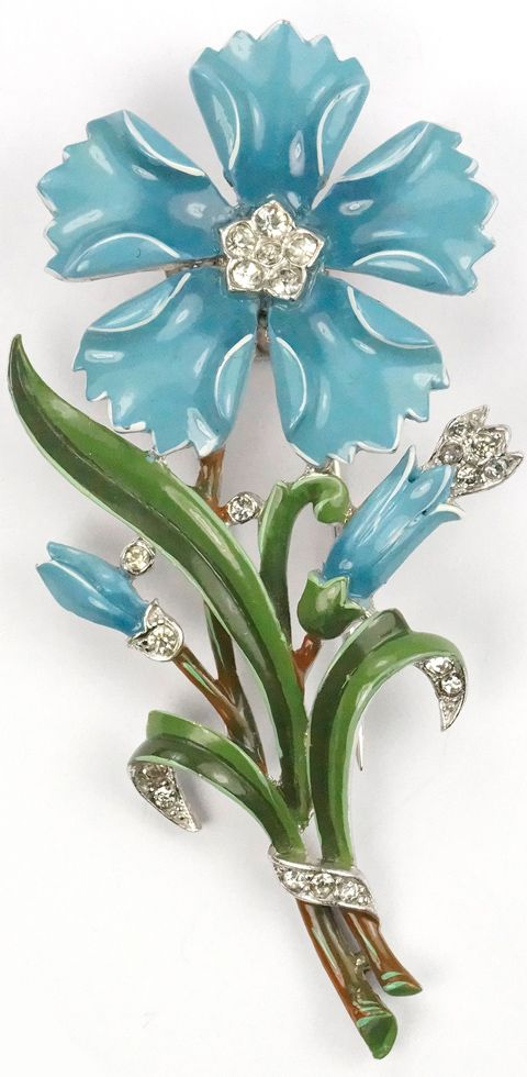 Trifari 'Alfred Philippe' Turquoise Enamel Five Pointed Carnation Pin Clip