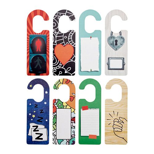 IKEA - STOPPAR, Door handle plate, , Four colorful door tags printed on both sides for a total of 8 different patterns.Hang them outside your door or from the knob of a cabinet to communicate different messages or moods.You can write on the door tags to make them personal.