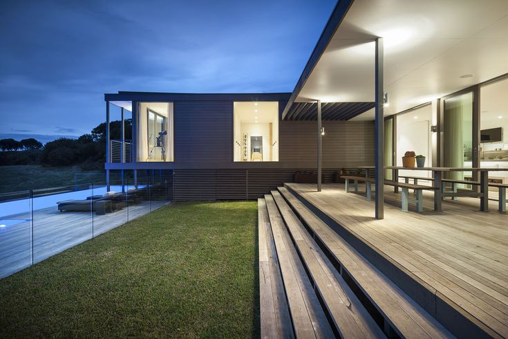 Foam Road Fingal Residence by Jam Architecture. The timber slatting under the house.