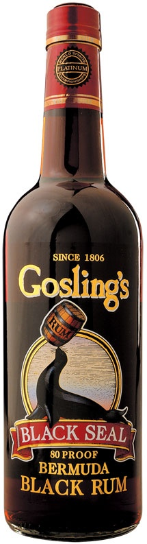"Gosling's Black Seal Bermuda Black Rum, a staple for us on the island. Goes in drinks, cakes, puddings, chowder, hot toddies and sometimes in the baby bottle when they're teething. You know in that movie where the guy always says, ""putta windex on it!""? This is the windex in Bermuda."