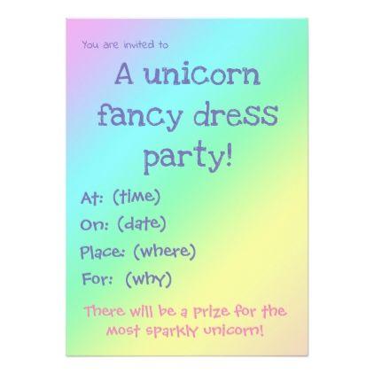 Unicorn Fancy Dress Party Invitation - invitations custom unique diy personalize occasions