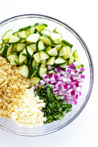 This Cucumber Quinoa Salad is made with lots of fresh basil and feta, tossed with a simple lemony vinaigrette, and it's SO fresh and delicious! Plus, it's naturally gluten-free and quick and easy to make.   gimmesomeoven.com