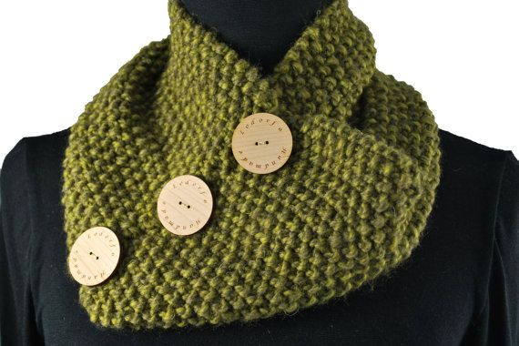 Handmade  knitted neck cowl with buttons