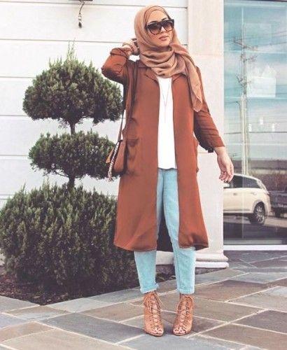 tan hijab coat outfit, Elegant hijab street style…