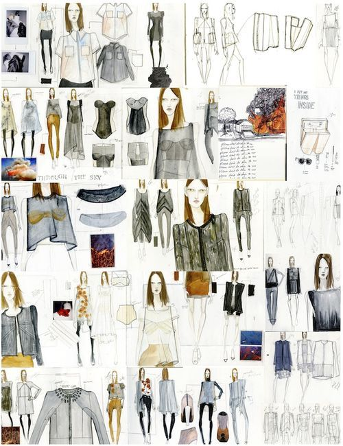 Fashion Sketchbook pages from fashion designer Katty Hoelck