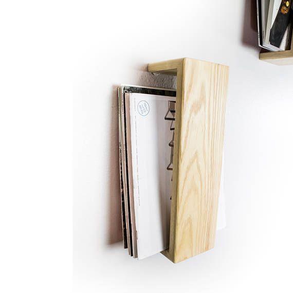 magazine rack wall mounted floating shelf ash hardwood