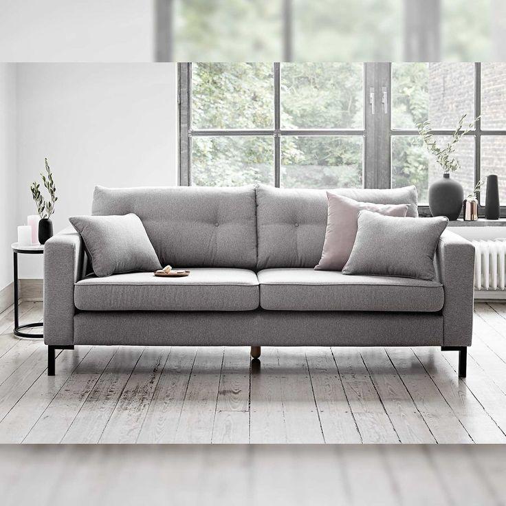 Sofa in der Trendfarbe Grau | 3er sofa, Living room ...