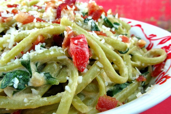 Spinach Linguine with Goat Cheese and Bacon Recipe Delicious! We used ...
