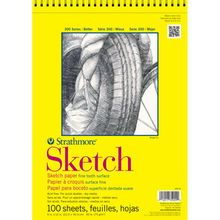 Series 300 sketch paper is a lightweight paper with a fine tooth surface suited for classroom experimentation, practice of techniques, and quick studies with any dry media. Each wire-bound pad contain