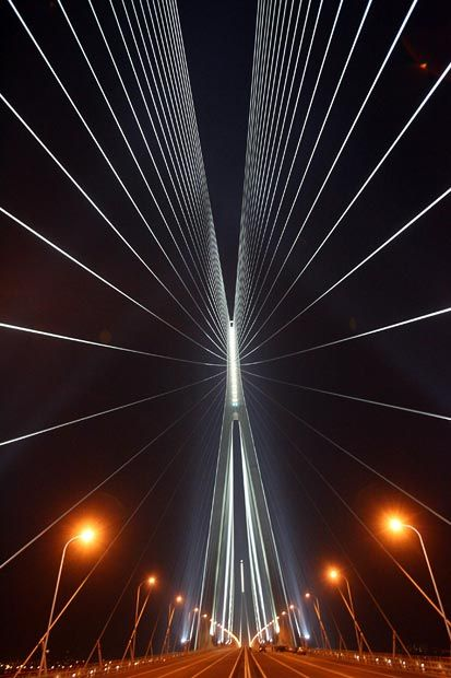 The Sutong Yangtze River Bridge is a cable-stayed bridge with the longest main span in the world (1,088 metres (3,570 ft). It spans the Yangtze River in China between Nantong and Changshu