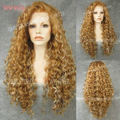 38 best interesting wigs images on pinterest hair care hair 26 long spiral curly 2 tone medium blonde lace front synthetic wig pmusecretfo Images