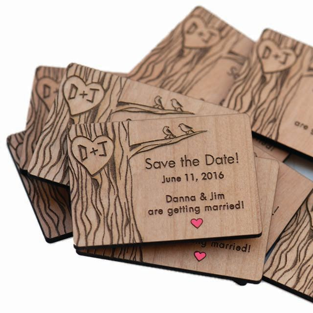 50 Love Birds in Tree with Red Heart Save the Date  Magnets - Wedding Favors - Gift Tags - Laser Cut and Etched on Wood
