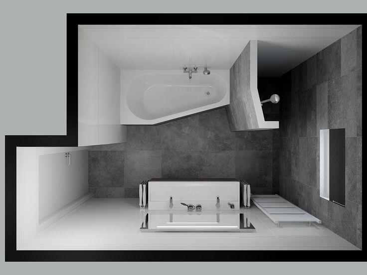 Badkamer inloopdouche, bad en dubbele wastafel
