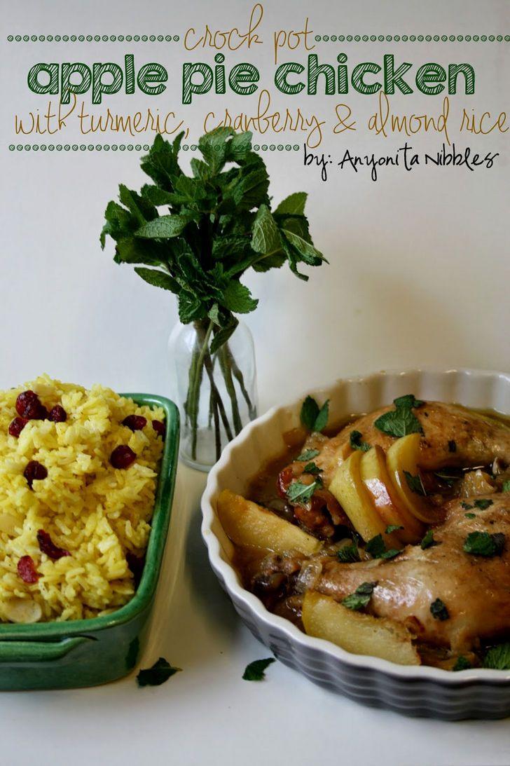 Crock Pot Apple Pie Chicken with Turmeric, Cranberry & Almond Rice.