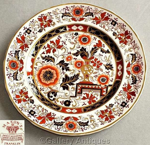 "Vintage Mason's patent ironstone Franklin Pattern 9"" diameter imari style hand painted Cabinet Plate first introduced about 1836 (ref: 3200)"
