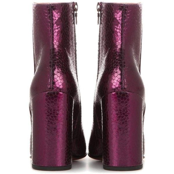 Metallic embossed leather ankle boots ($615) ❤ liked on Polyvore featuring shoes, boots, ankle booties, bootie boots, leather ankle bootie, purple ankle boots, metallic boots and shiny leather boots