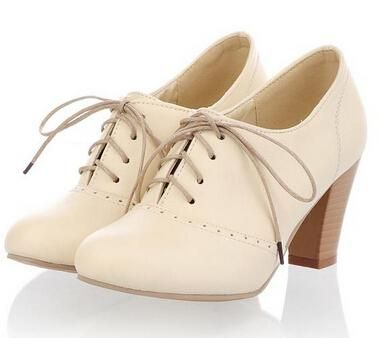 New Plus Size 34-43 Thick Heel High Heels Oxford Shoes For Women Fashion Vintage British Style Lace Up Women Pumps Shoes Woman