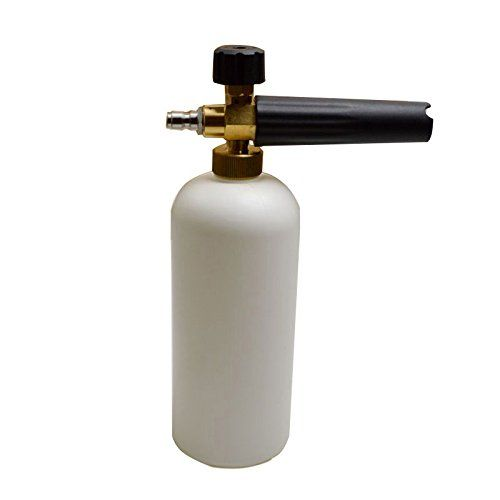 Foam Cannon Gun for Car Wash Soap Suds Washing Spray to Detail Car Pressure Power Washer Compatible. Best attachment for machine snow blaster and auto shampoo. Adjustable foamer high power. TriNova  EASY TO USE - just fill up the reservoir bottle with soap, click in to your existing pressure washer lance or trigger, adjust the knob for your desired foam level, and spray! Hose water from compressor comes quick for a cleaner advanced automotive dirt removal.  GREAT FOR CAR WASHING - Soak...