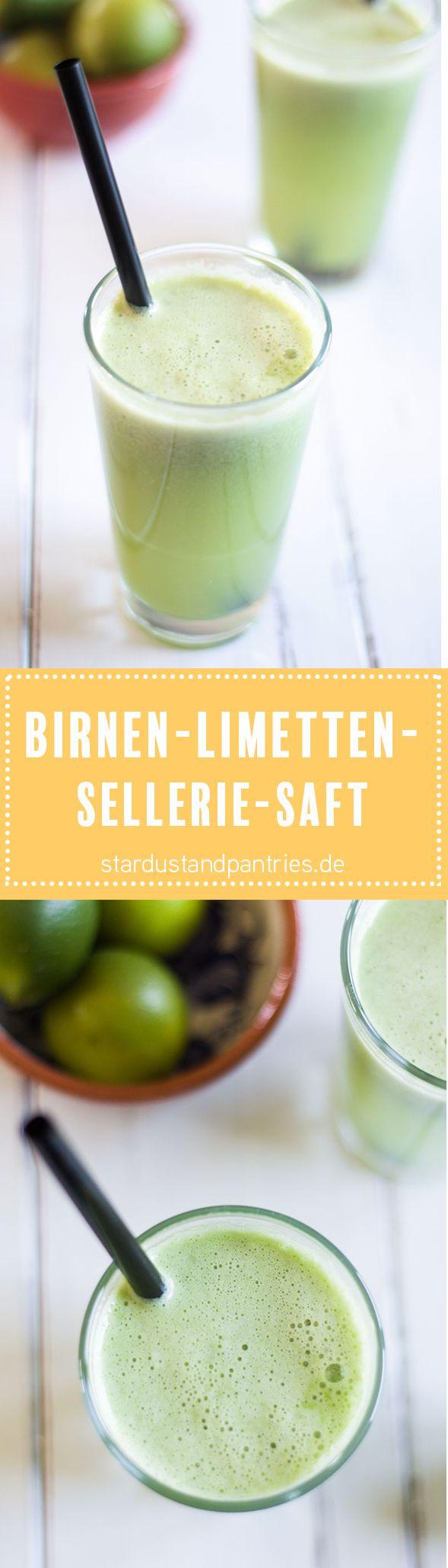 Birnen-Limetten-Saft mit Sellerie gegen Asthmabeschwerden und Allergien! Eine Rezeptkarte gibt es auf dem Blog zum download!
