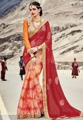 Cream and Red Saree  https://www.ethanica.com/products/cream-and-red-saree-1