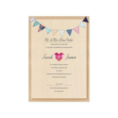 Village Bunting Day Invitation   Wedding Invitations