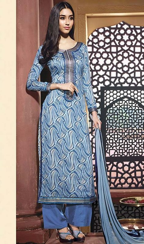Dress-up yourself in trend with this sky blue color cotton printed pallazo suit. The lace and printed work on dress personifies the overall appearance. #palazzodresses #palazzosuits #palazzodreessesonline