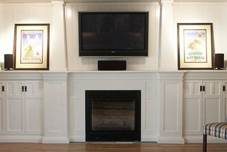 Cottage style gas fireplace surround backdrop for for Craftsman fireplaces photos