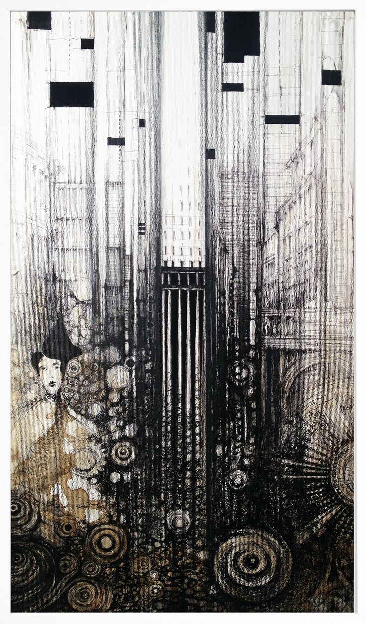 AUSTRIA III  Drawing and Painting on canvas, 35x65cm, ink, water, cryon, coffe  © Pavel Filgas 2016