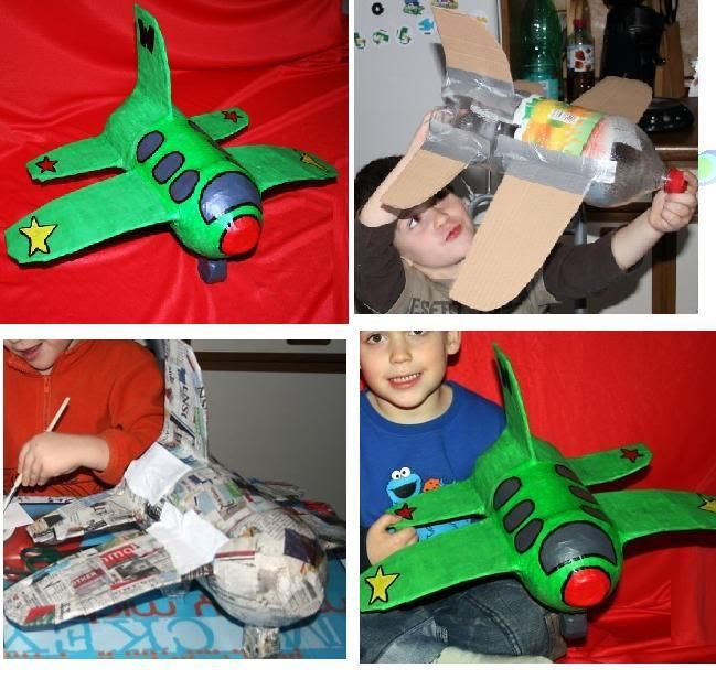 Airplane made with cardboard, plastic bottle and paper mache.