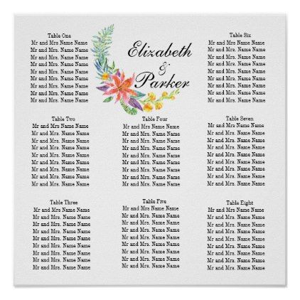Tropical Floral Template Wedding Seating Chart - floral style flower flowers stylish diy personalize