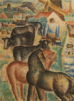 Milking time on the farm By Leo Gestel ,1927