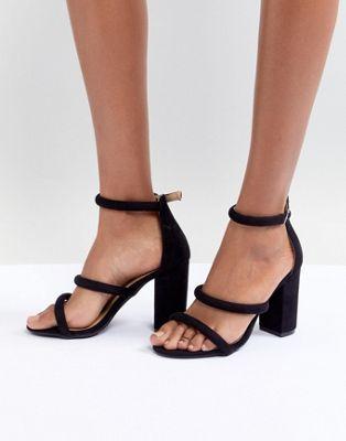 43a45432797 Boohoo Three Strap Block Heel Sandal