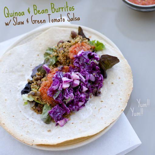 quinoa & bean burritos: Vegetarian Burritos, Beans Burritos, Quinoa Burritos, Black Beans, Amazing Food, Red Cabbages, Green Tomatoes Salsa, Quinoa Beans, Tomatoes Salsa Recipe