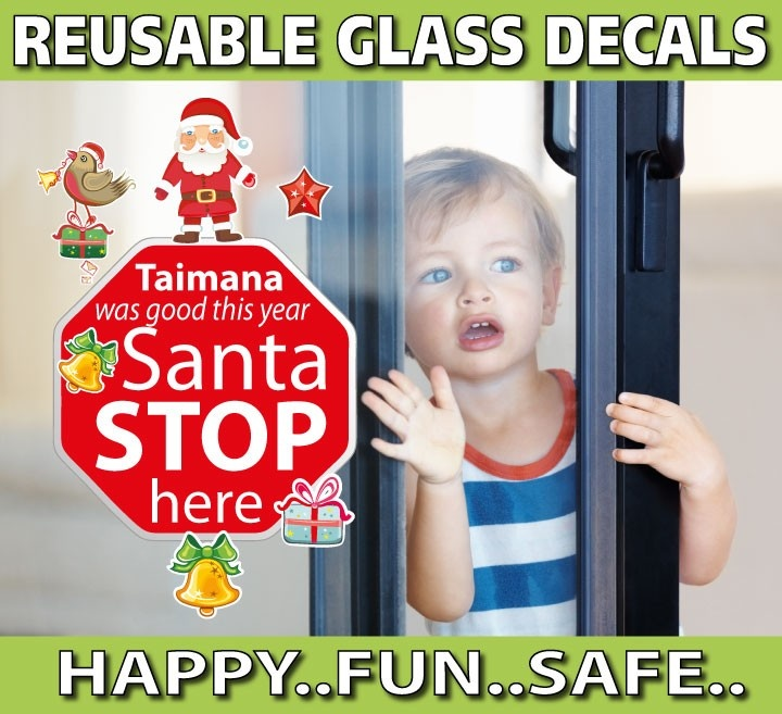 smartwalling, REUSABLE window decals - Personalised Santa Stop Here Window Decal - Totally Reusable, $9.95 (http://www.wholesaleprinters.com.au/personalised-santa-stop-here-window-decal-totally-reusable)