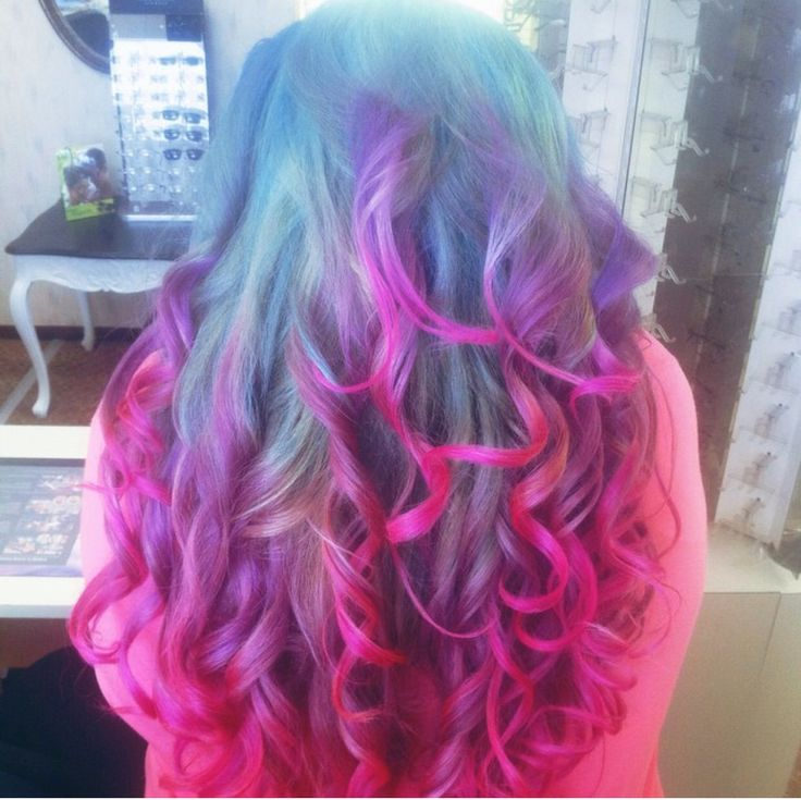 My blue, purple, pink hair(: ion colors:: CleoMoonxx