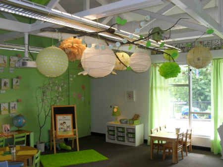 Like this classroom's color scheme for a playroom for kiddos or would work for a day care too.