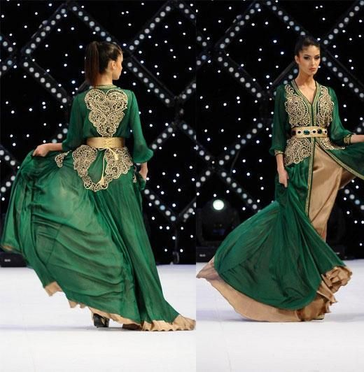 2016 Muslim Evening Dresses Dubai Abayas Long Sleeves With Beaded Embroidery V Neck Green Chiffon Evening Gowns Islamic Clothing One Shoulder Evening Dress African Evening Dresses From Gonewithwind, $209.43| Dhgate.Com
