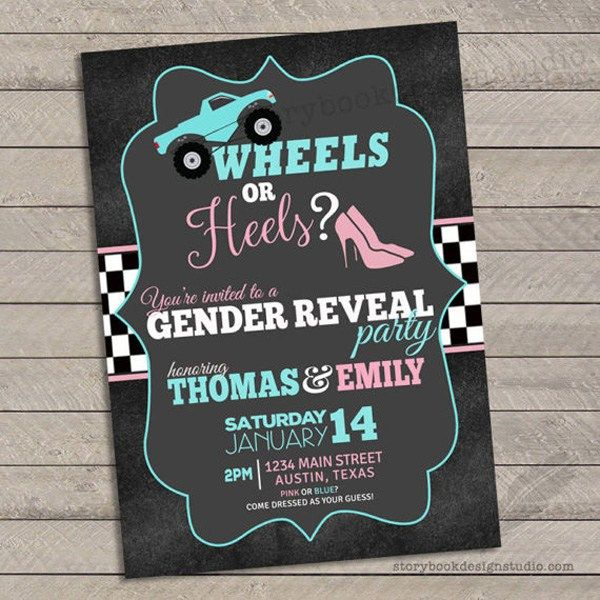 It All Starts With The Invitation Are You A Monster Truck Fan This Monster Truck Wheels O Gender Reveal Invitations Gender Reveal Themes Gender Reveal Shower