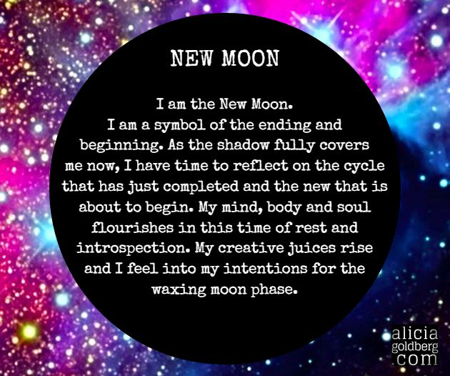 new moon -- Questions to ask myself: How am I feeling as this last cycle comes to an end? What have I learned about myself? What intention feels fun and exciting to set next?