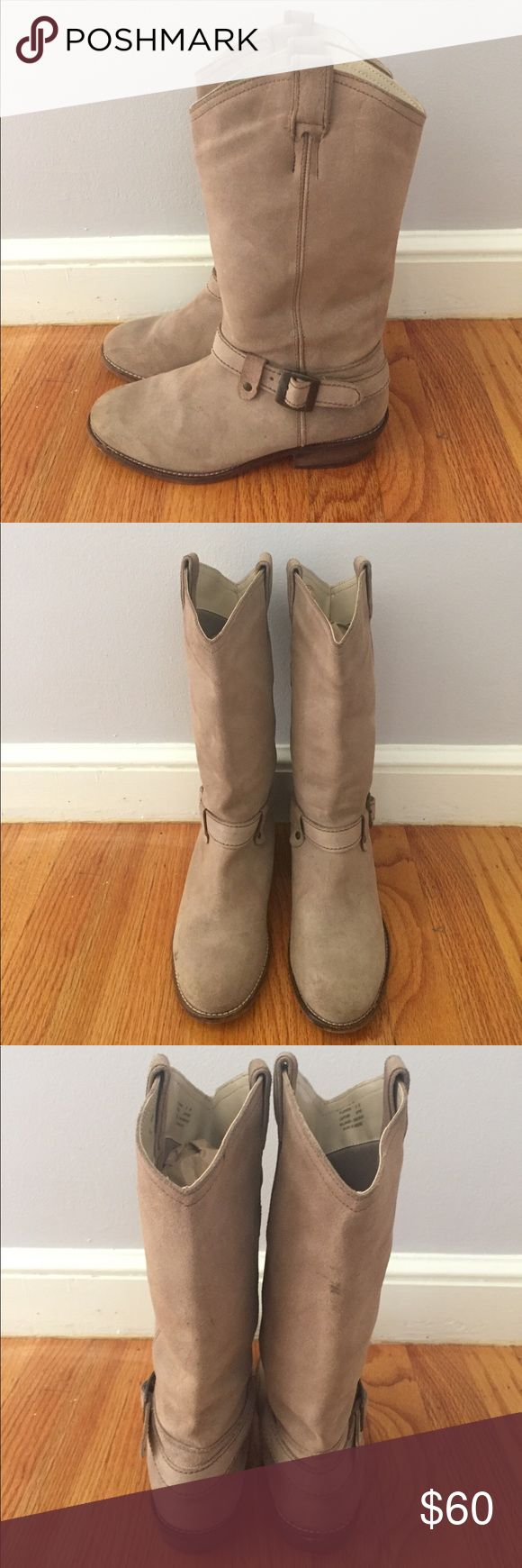 """Steve Madden Tan Taupe Suede Cowboy Boots Sz 8M🍁 In excellent used condition. Steve Madden Tan Taupe Suede Cowboy Boots in women's Sz 8M. Pull up style, no zippers. Fits true to size. Some minor scuffs and marks, will definitely benefit from a suede cleaner😉.  1"""" heel and 10.25"""" tall shaft. Has the classic buckle detail around the ankle. Goes with everything!😍😍 Steve Madden Shoes Heeled Boots"""