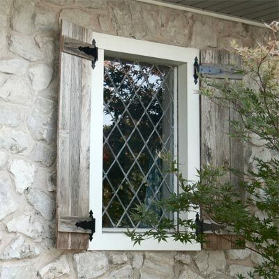Love The Diamond Panel Window And Antique Wood Shutters On This Stone House.