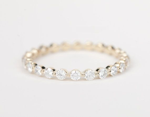ZERTIFIZIERT E-F VVS-VS Diamant Ehering 14K von SundariGems