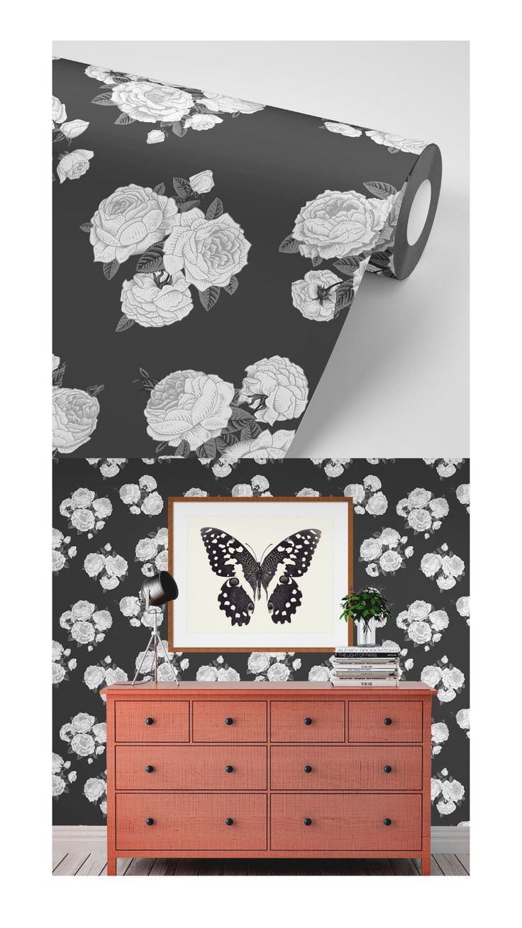 This dark floral wallpaper is peel and stick, and super