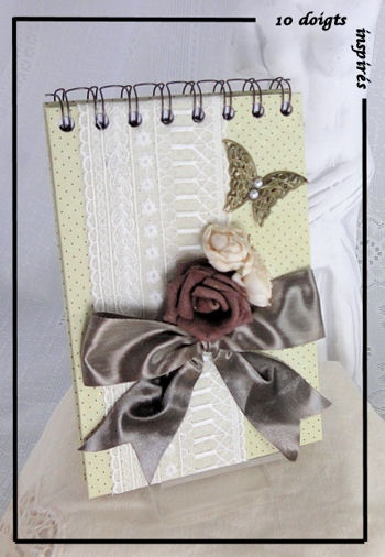romantic notebook with butterfly ..........Carnet ROMANTIQUE  ROSE marron