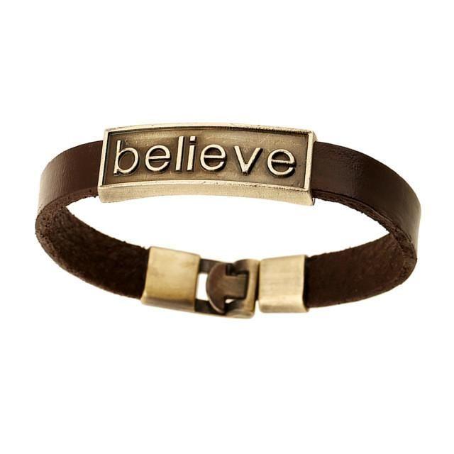 Brown Genuine Leather Bracelet With 'Believe'