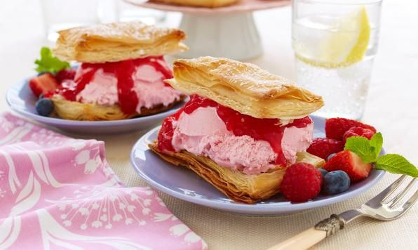 Fresh seasonal berries are the true star of this dessert! Flaky puff pastry and creamy ice cream layered between mounds of ripe berries - a delectable dessert for the summer season!
