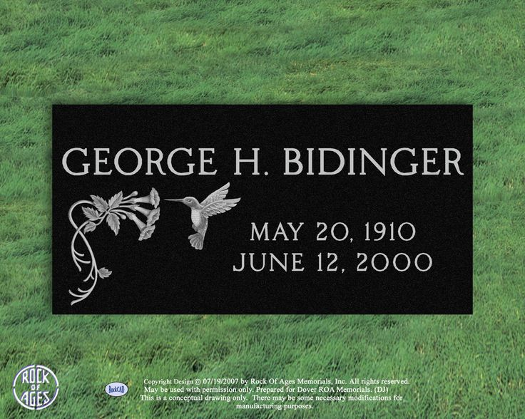 Hummingbird On Gravestone Lexington Granite Bidinger