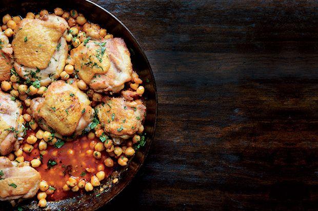 Pan-Roasted Chicken with Harissa Chickpeas
