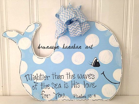 Baby Blue Whale Door Hanger/ Wall Hanger - Bronwyn Hanahan Art on Etsy, $50.00